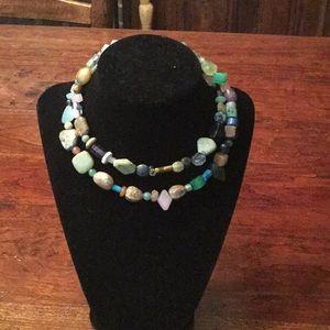 Memory wire multi color necklace.